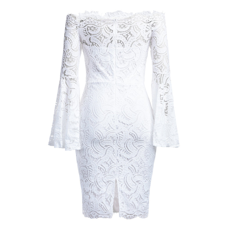 Off the Shoulder Long Trumpet Sleeves Solid Color Women Lace Knee-length Dress