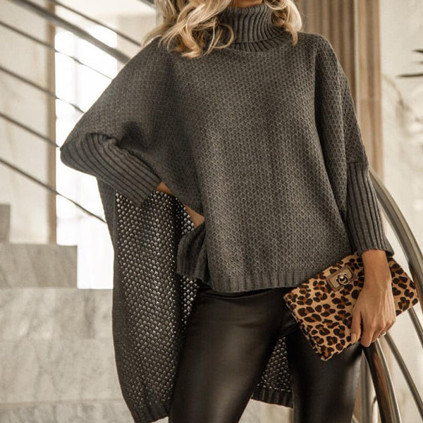 Turtleneck 3/4 Sleeve Low High Batwing Sweater