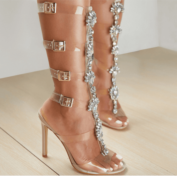 Rhinestone High Heels Buckle Clear Sandals