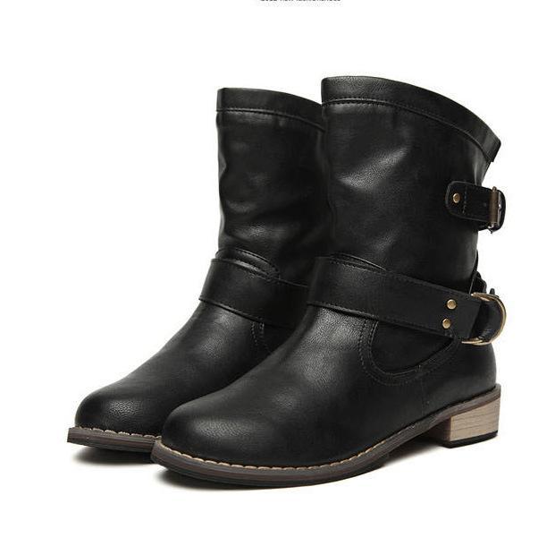 Fashion-Mid-Calf Flat Heel British Driving Short Boots