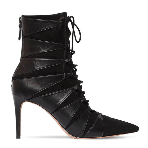 Black Point Toe PU Strap High Heel Ankle Boots