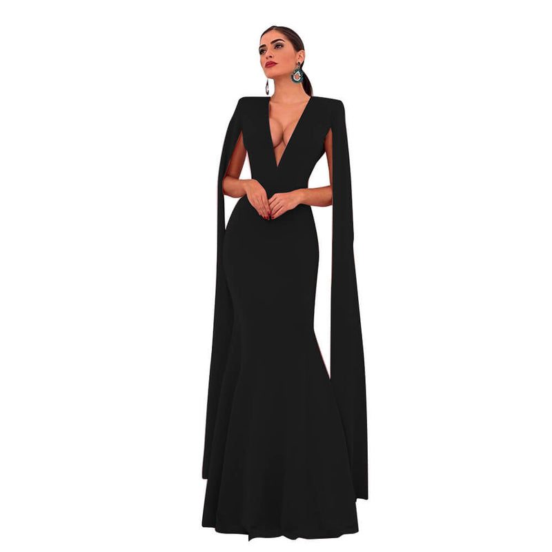 Cape Sleeve Deep V Neck Shawl Bodycon Maxi Dress