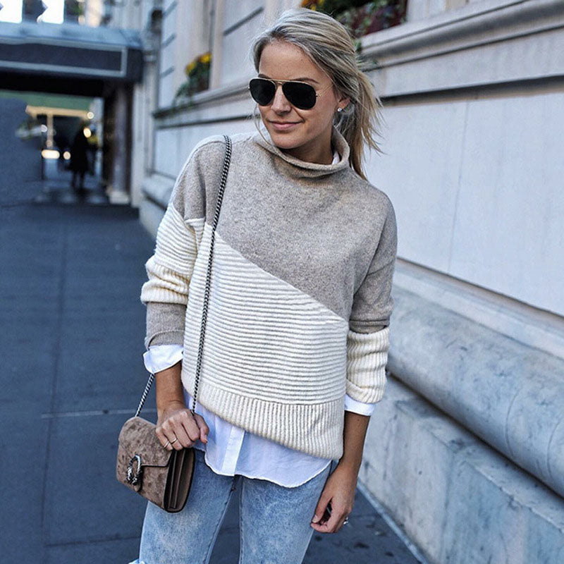 Turtleneck Colorblock Knit Pullover Top