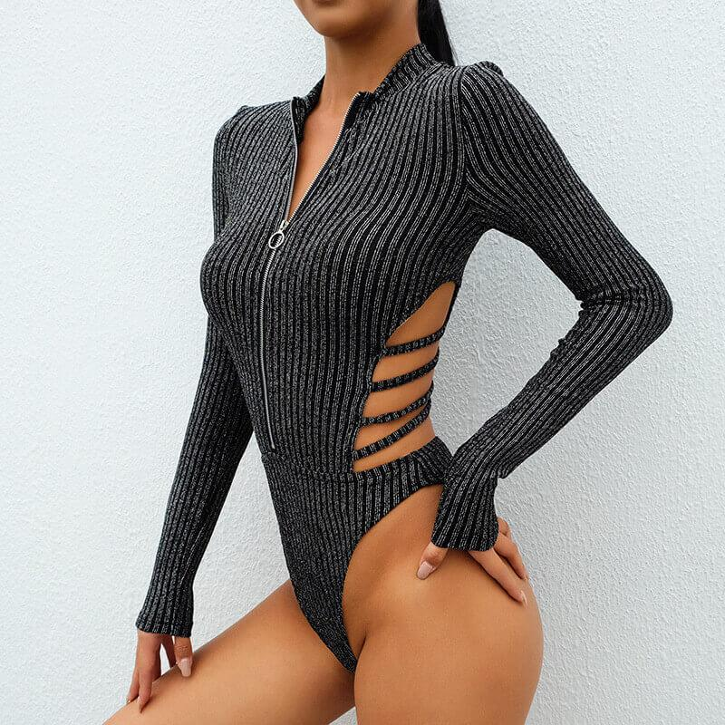 Zipper Open Back Long Sleeves Women Bodysuit