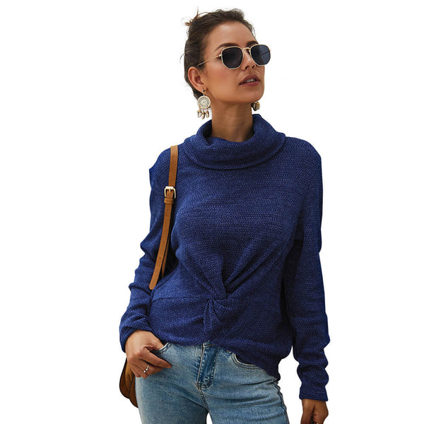 Turtleneck Pullover Twist Front Sweater