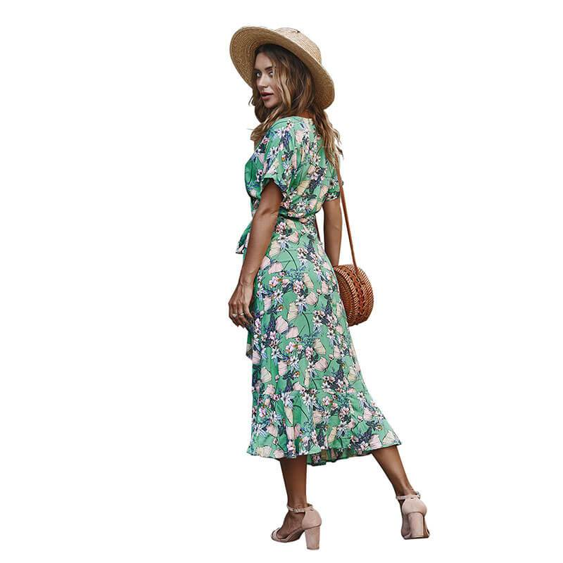 V Neck Floral Beach Midi Wrap Dress