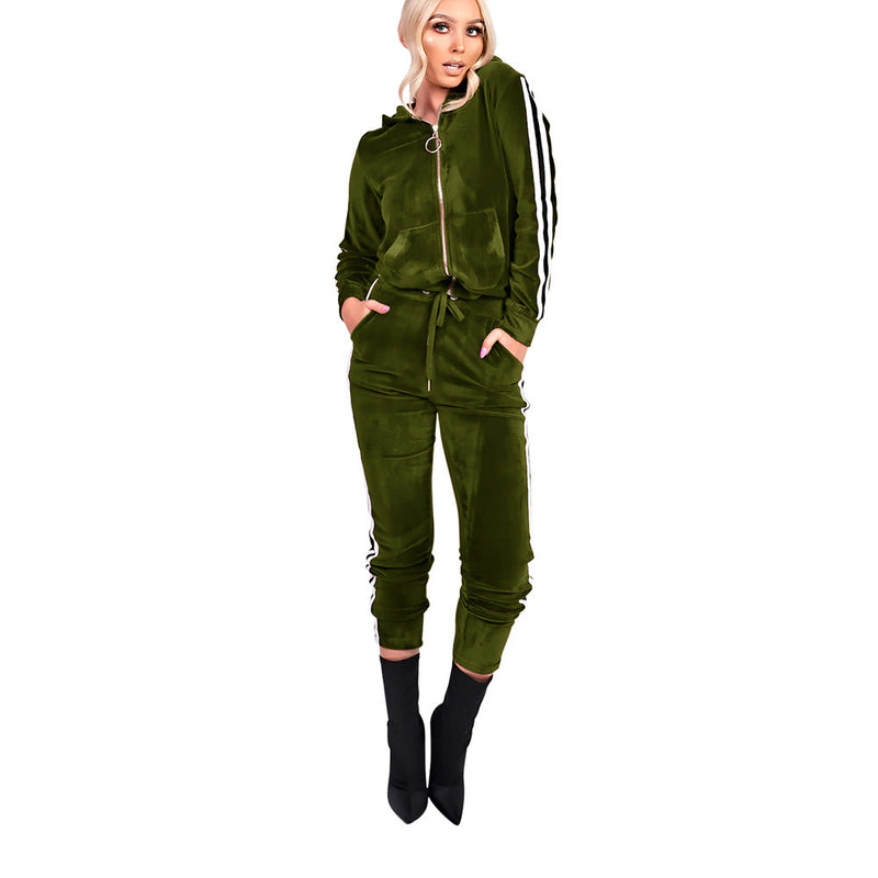 Stripe Velvet Zipper Hoodie Long Elastic Waistline Pants Women Two Pieces Sports Set