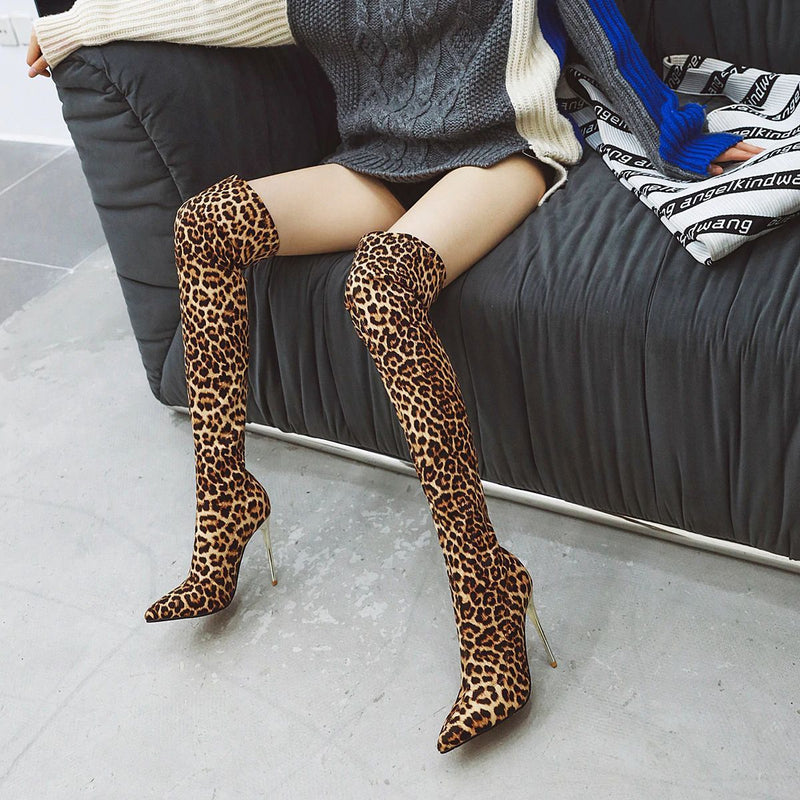High Heel Over The Knee Long Stretch Boots