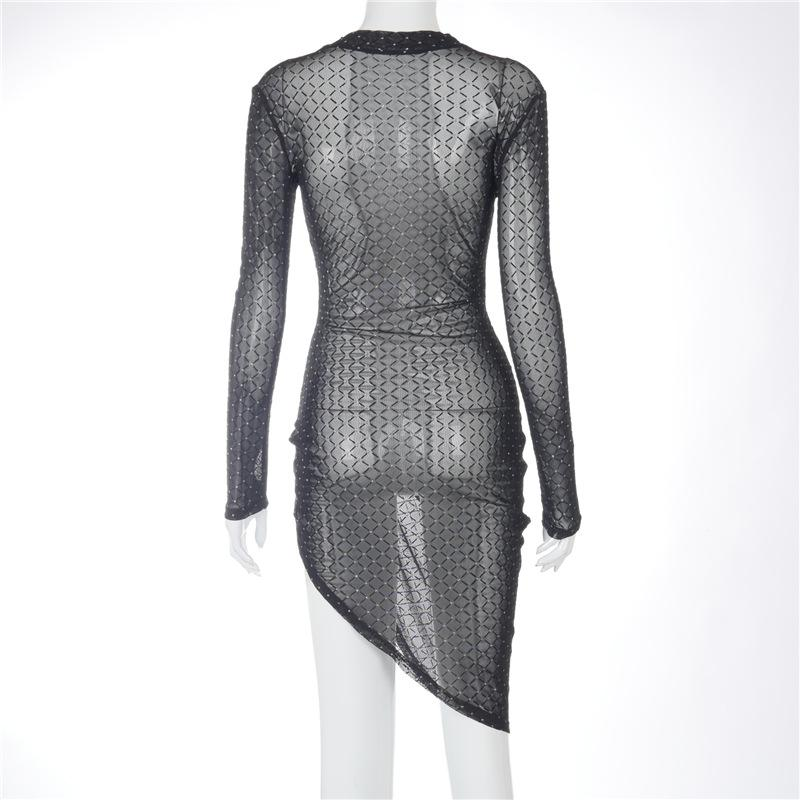High Split Sexy Perspective Pleated Flocking Long Sleeve Slim Dress