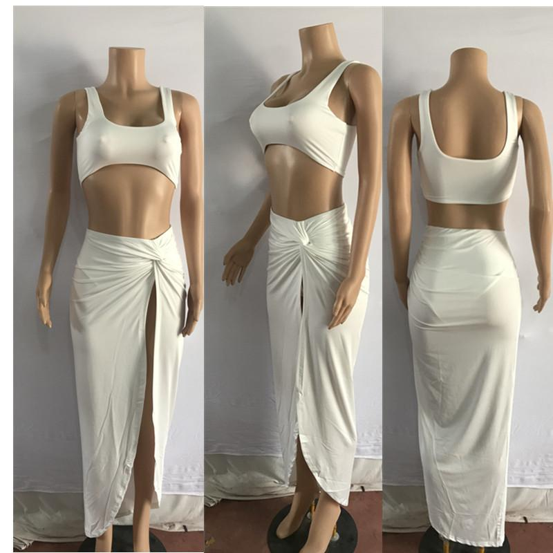 Strap Crop Top Irregular Side Split Skirt Club Dress Set