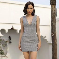 Bodycon Deep V-neck Sleeveless Short lattice Dress