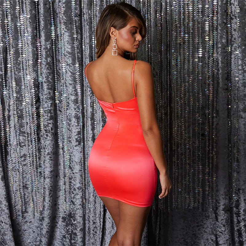 Strappy Backless Bear Shoulder Short Bodycon Dress