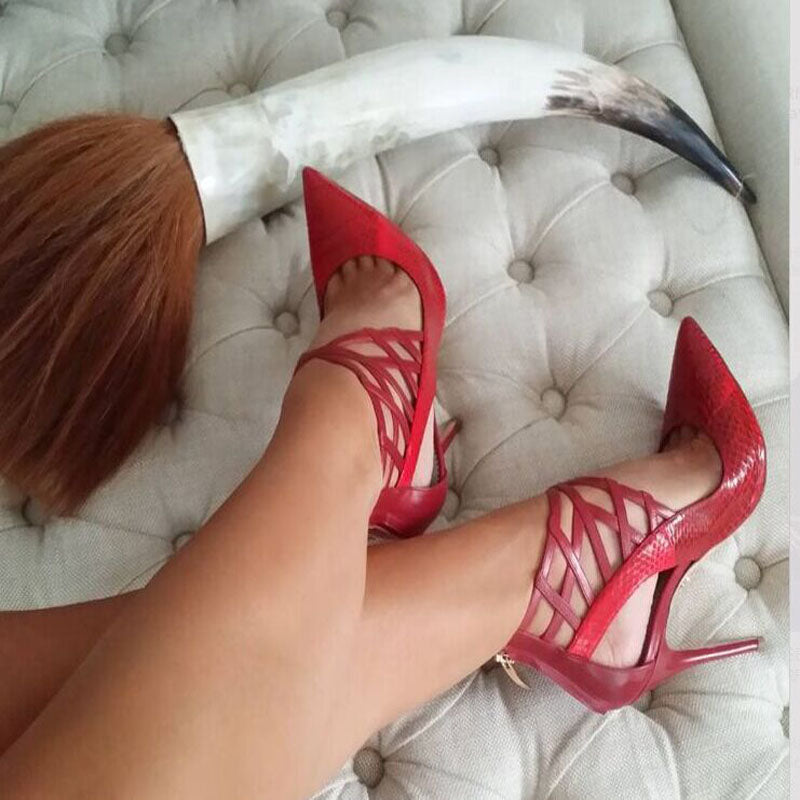 Sexy Leather Cutout Pointed Toe High Heels
