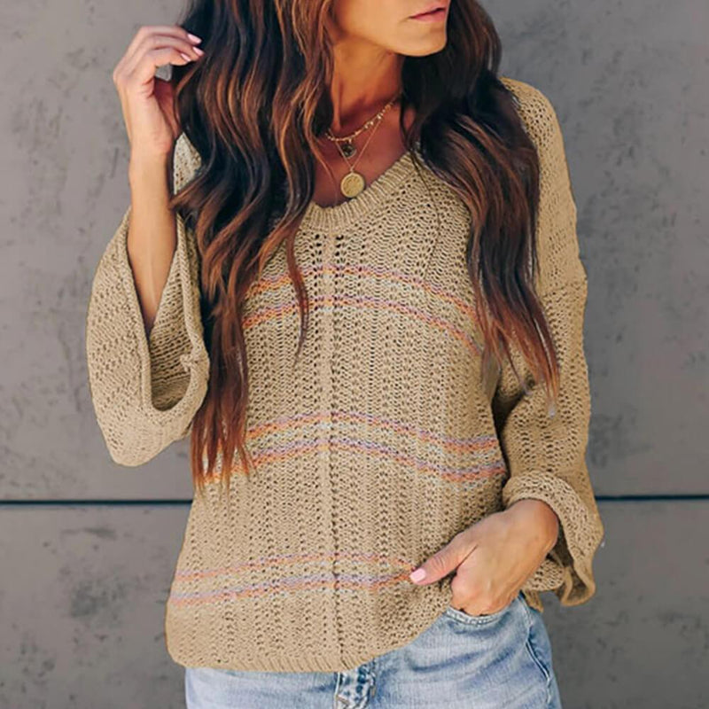 V Neck Bell Sleeve Patchwork Sweater