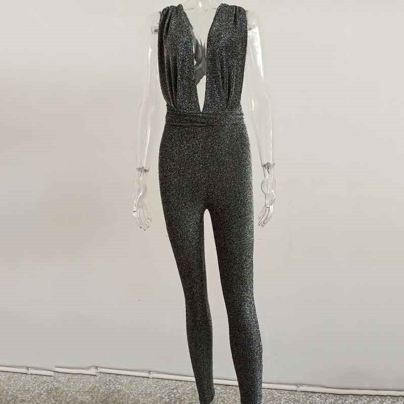 Sequin High Waist Bodycon V NeckJumpsuits