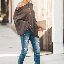 Oversized Boalt Neck Knit Batwing Sweater
