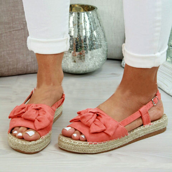 Summer Espadrille Bow Peep Toe Flat Sandals