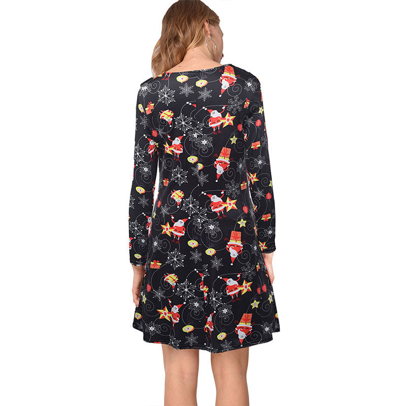 Christmas Print A Line Short Dress