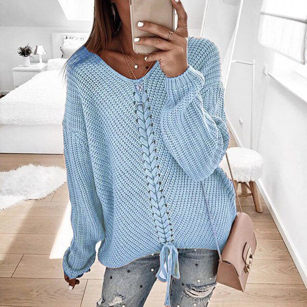 Oversized Lace-Up Dolman Sleeve Women Cozy Sweather
