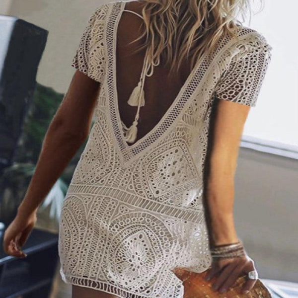 Tight Hollow Out Lace Short Dress