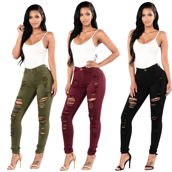 Sexy High Waist Stretch Skinny Ripped Pants