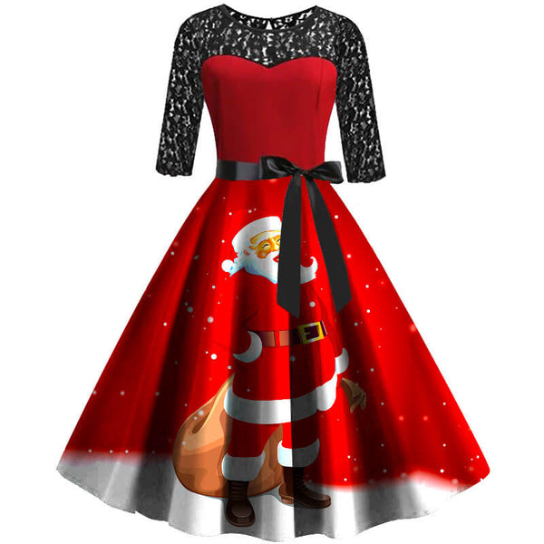 Cute Christmas Retro Lace Splice Santa Print Dress