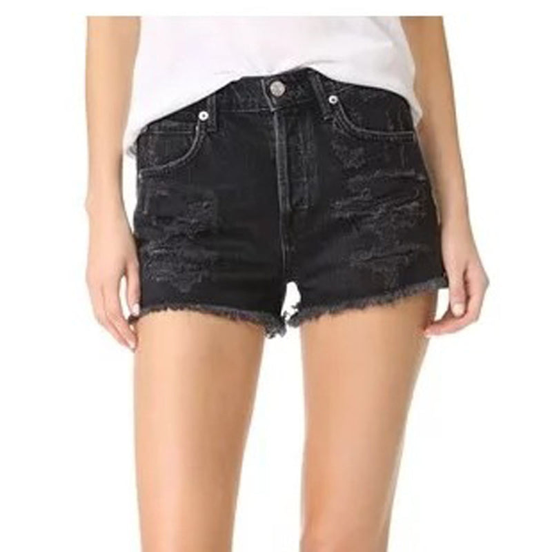 Retro Hole High Waist Denim Rough Slim Shorts