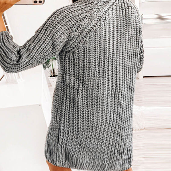 Knitted Solid Long Cardigan