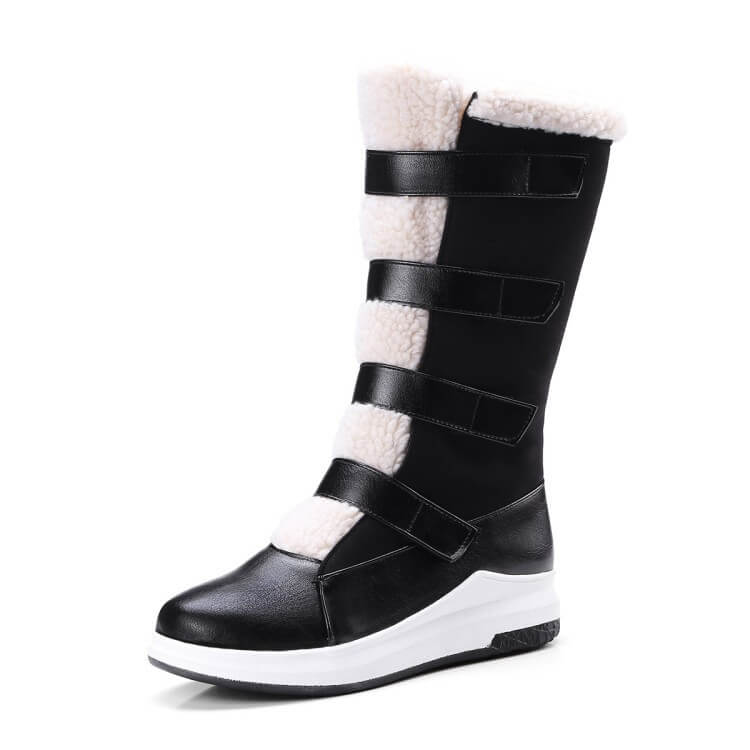Leather Flat Velcro Round Toe Mid Calf Boots