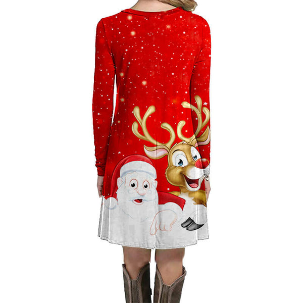 Cute Christmas Cartoon Print Short Dress