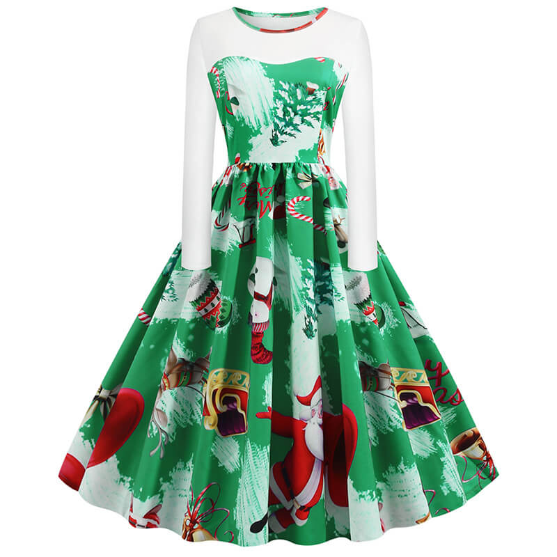 Retro Christmas Santa Print Patchwork Dress