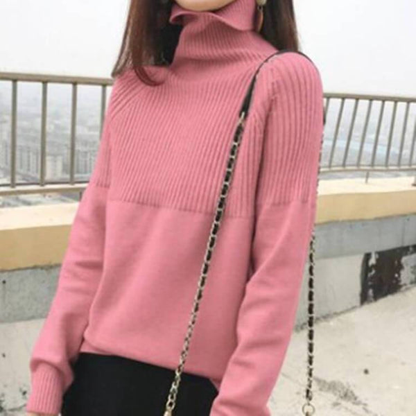 Winter Turtleneck Long Sleeve Ribbed Knit Sweater