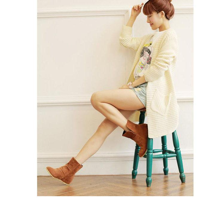 Suede Round Toe Inside Heels Short Boots