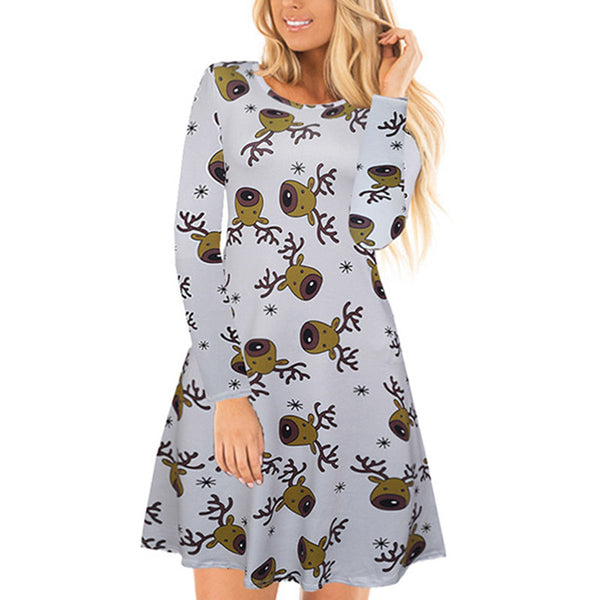 Christmas Print Scoop Neck A Line Short Dress