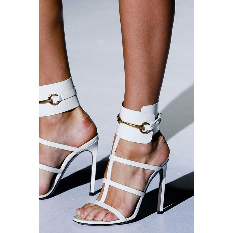 Leather Buckle Open Toe High Heel Sandals