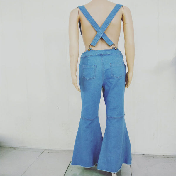 Sexy Flare High Waist Bodycon Denim Suspenders Pants