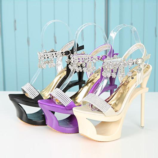 Shinning Rhinestone Cut Out High Platform Stiletto Heel Sandals - MeetYoursFashion - 6