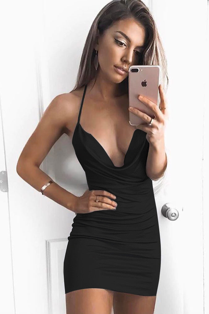 Spaghetti Straps Deep V-neck Backless Pure Color Short Dress