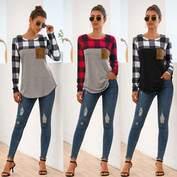 Casual Plaid Patchwork Top
