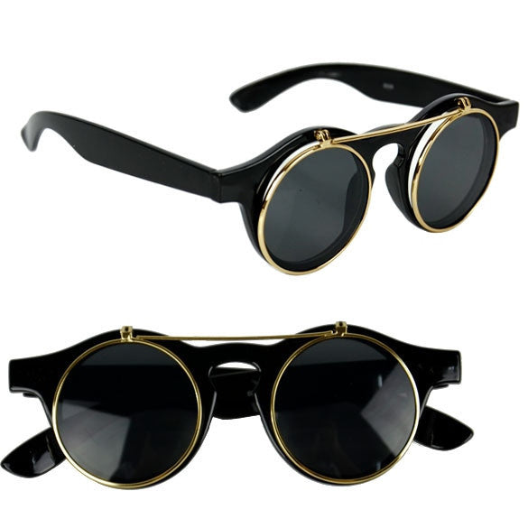 Women's Mens Retro Style Flip Up Round Steampunk Sunglasses