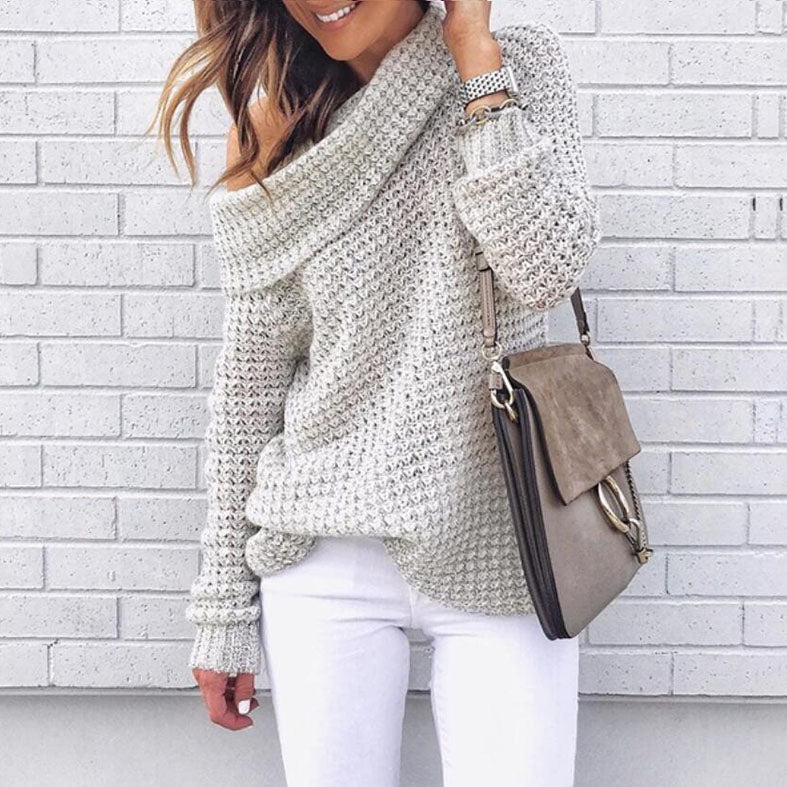 Oversize Turtleneck Crochet Pullover Sweater