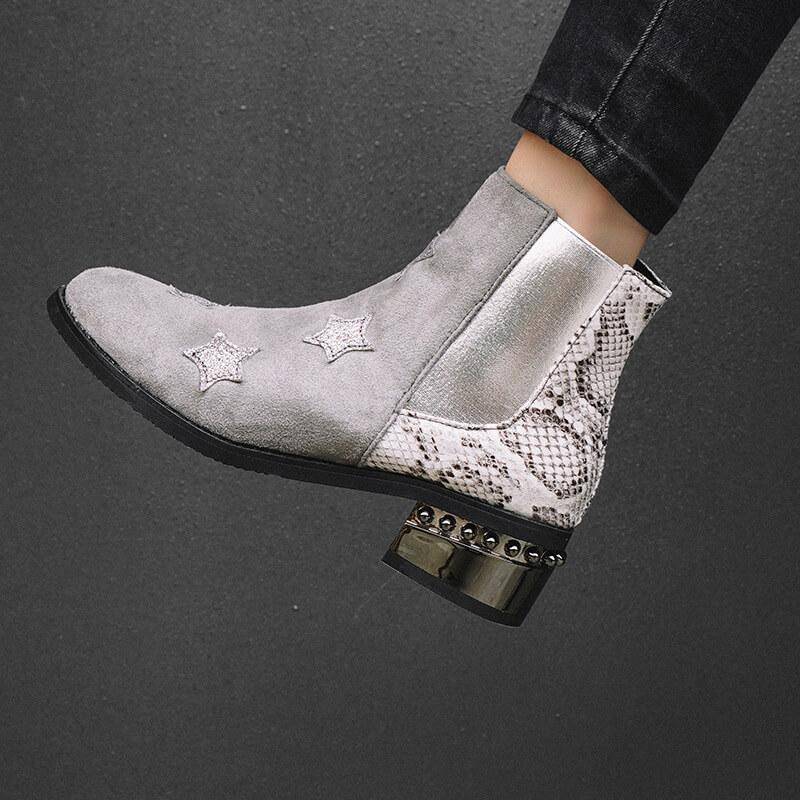 Snakeskin Star Chunky Low Heel Ankle Boots