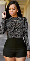 Black Print Mesh Patchwork Long Sleeve Short Jumpsuits