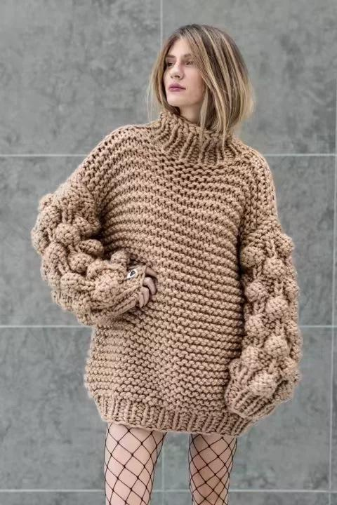 Turtleneck Handmade Knit Long Lartern Sleeves Chunky Pullover Oversized Sweater