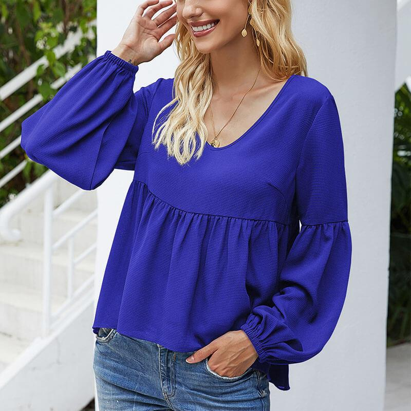 OL Solid Splice V Neck Top