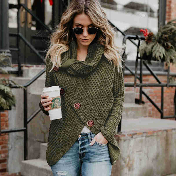 Turtleneck Button Up Wrap Sweater