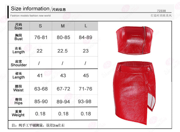 Strapless Crop Top with Split Short Skirt Women Two Pices Red PU Dress Set