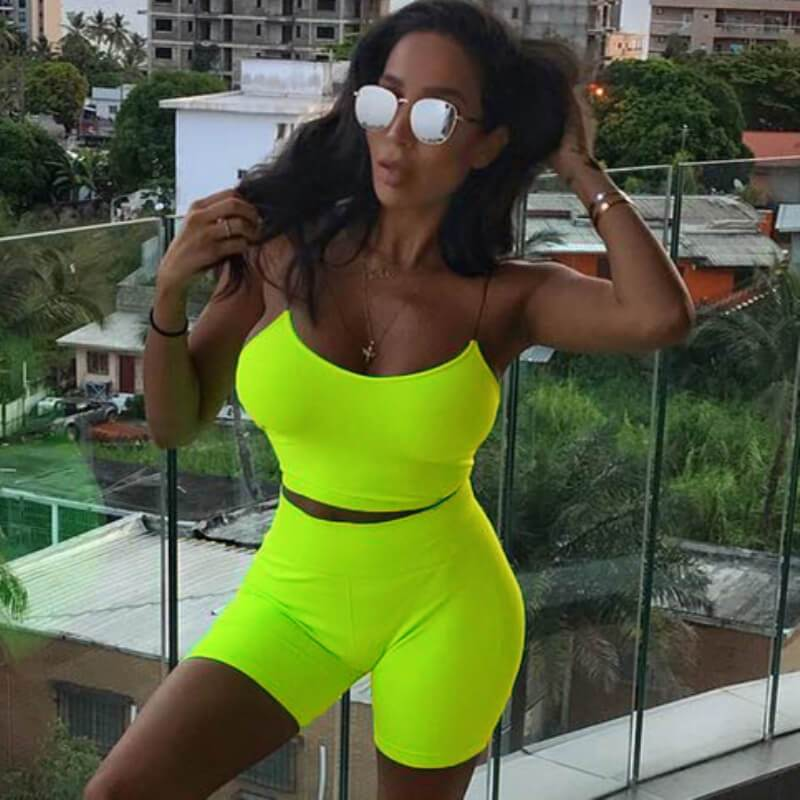 Sexy Bright Color Spaghetti Strap High Waist Bodycon Two Pieces Set