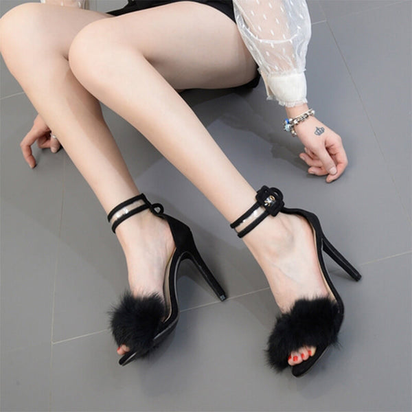 Stiletto High Heel Fur Snakeskin Buckle Sandals