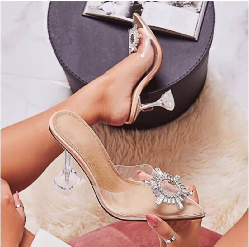 Rhinestone Clear Sunflower See-Through Sandals